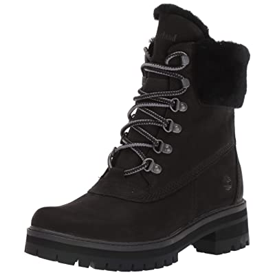 Timberland Women's Courmayeur Valley WP 6in with Shearling, Black Nubuck, 9 M US   Ankle & Bootie