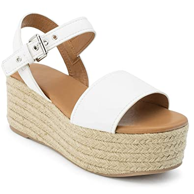 f157ea0e451d RF ROOM OF FASHION Open Toe Ankle Strap Espadrille Platform Wedge White  Size.6