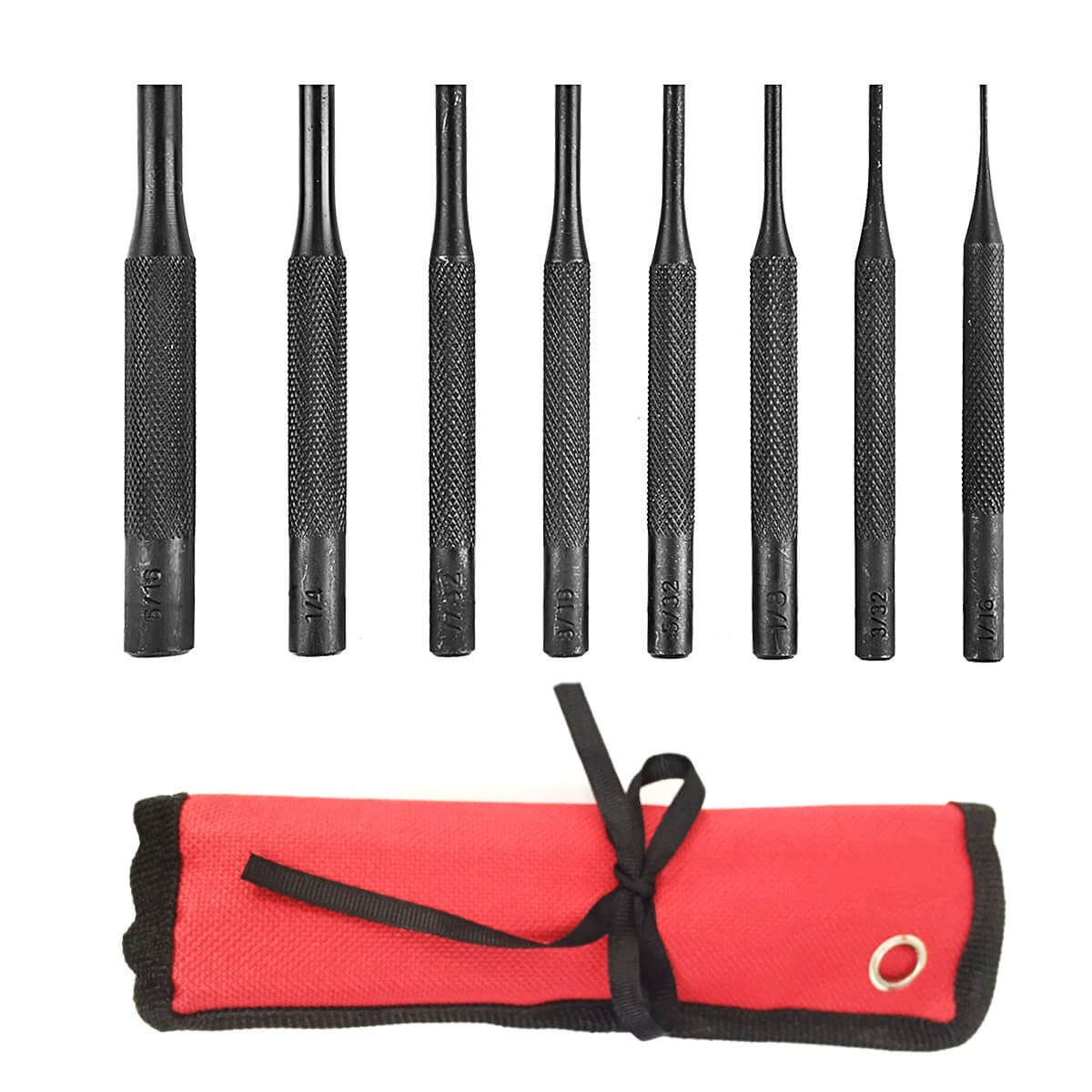 8 Pieces Pin Punch Set Tool - for Woodwork/Machinery/Automotive/Watch Repair/Jewelry/Repairs and Crafts with Carrying Bag