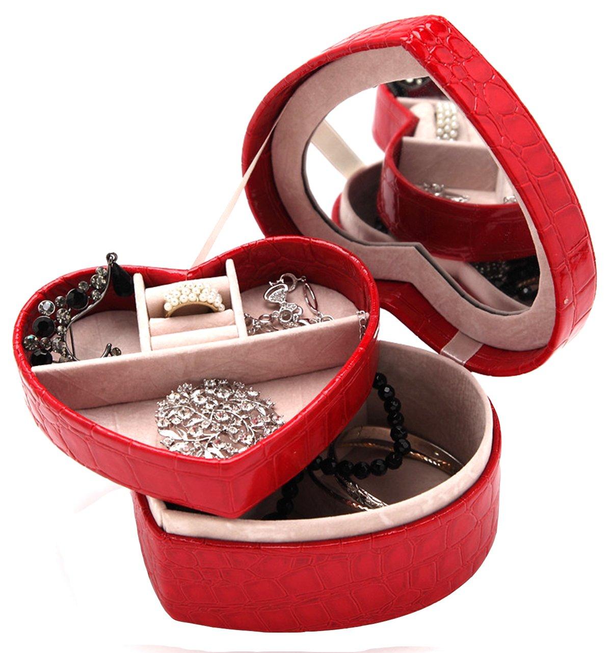 DCCN Portagioie 3 livelli, beauty case in pelle PU (poliuretano), cofanetto portagioielli con specchio e lucchetto KDCCN-1101