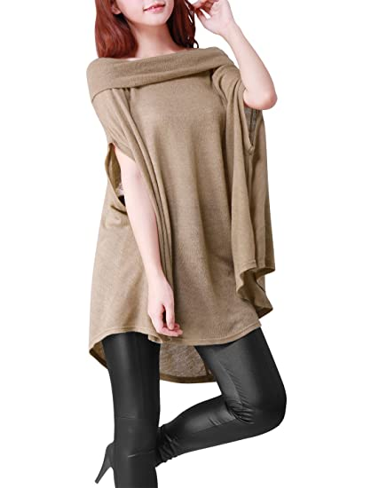8a4cab2acdba2d Allegra K Ladies Off Shoulder Oversize Knit Shirt Dolman Sleeve Cape Tops   Amazon.in  Home   Kitchen