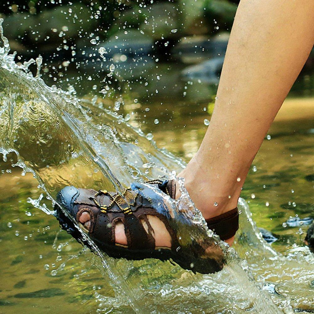 MYXUA Herren Sommer Leder Outdoor Sandalen 2 Baotou Beach Schuhe Wanderschuhe 2 Sandalen e86a54