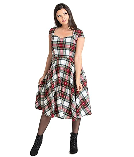 91b64244da029a Hell Bunny 50's Aberdeen Tartan Dress: Amazon.co.uk: Clothing