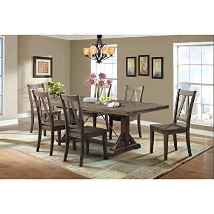 Picket House Furnishings Flynn Dining Set Table U0026 6 Wooden Side Chairs  Rustic/Walnut