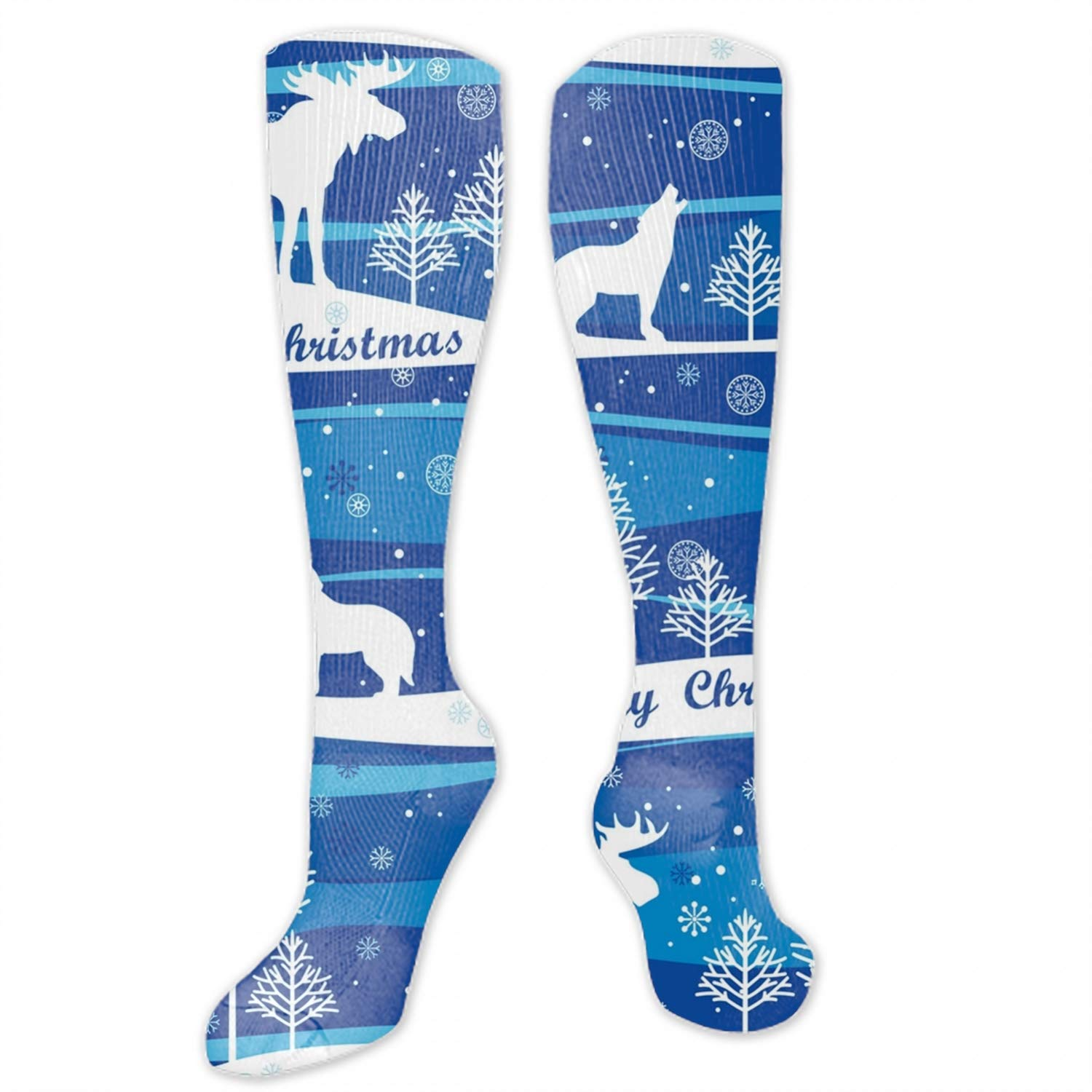 Men /& Women Art Patterned Casual High Socks Merry Christmas Background