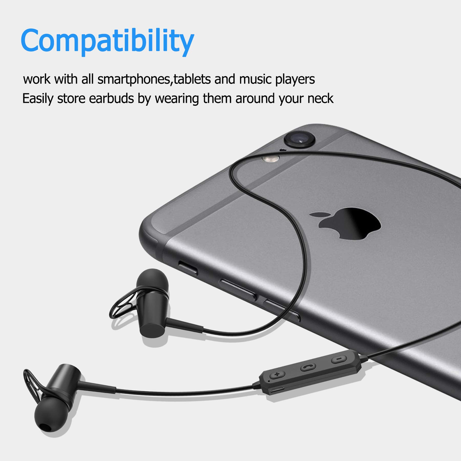 Bluetooth Earphones, Bluetooth 4.2 Magnetic Earphones, in-Ear Sweatproof Headphones with Mic for Running Gym Workout by BOQXIN (Image #7)