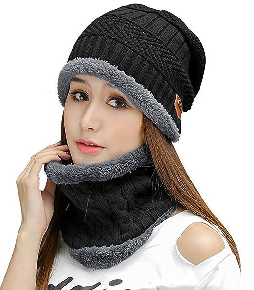 HindaWi Womens Beanie Winter Hat Scarf Set Slouchy Warm Snow Knit Skull Cap  Black 19ed2bc14bf5