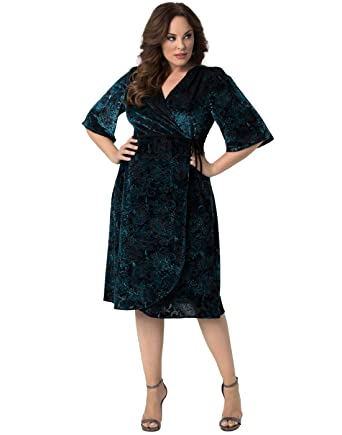 Kiyonna Womens Plus Size Vivica Velvet Wrap Dress Green 1x Plus
