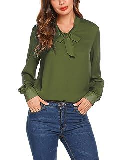 Damen Bluse Chiffon Langarm Elegant Oberteile Business Vintage Fliege Hals  Hemd T-Shirt Tunika Schwarz 7e144dab65