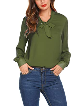 d4ee47c67eb76f Womens Chiffon Blouses Solid Color Tunic Tops Long Sleeve Loose Shirt  Office Work Vintage Ladi Blouse with Bow Tie: Amazon.co.uk: Clothing