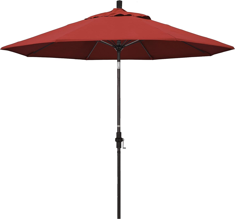 California Umbrella GSCUF908117-F13 9' Round Aluminum Pole Fiberglass Rib Market Patio Umbrella, Bronze, Red