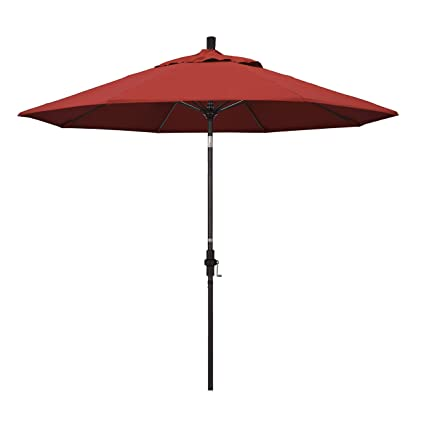 California Umbrella 9u0027 Round Aluminum Pole Fiberglass Rib Market Umbrella,  Crank Lift, Collar