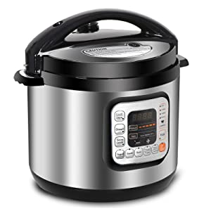 ZENSTYLE 6 Qt Programmable Multifunctional Electric Pressure Cooker - 13-in-1 Stainless Steel Pressure Adjustable Cooker - Rice Cooker, Slow Cooker, Steamer, Sauté, Yogurt Maker and Food Warmer