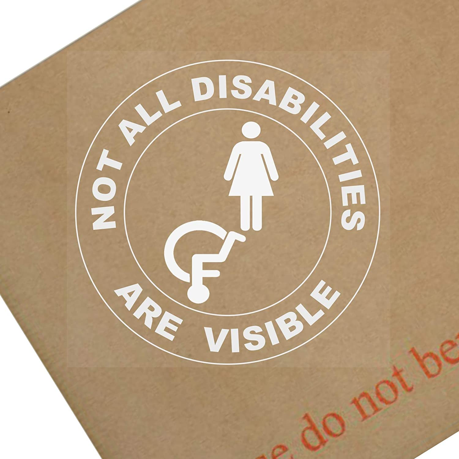 1 x Not All Disabilities Are Visible-FEMALE-ROUND-White onto Clear-WINDOW,Van,Truck,Bus,Disabled Sticker-Sign,Car,Badge,Blue,Holder,Warning,Notice,Driver,Passenger,Vehicle,Taxi,Cab,Mini Platinum Place