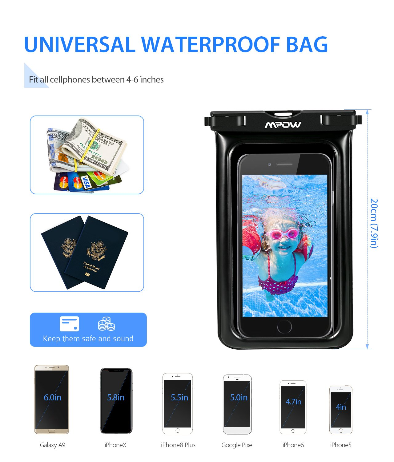 watch 4c292 9c5eb Mpow Upgraded Floating Waterproof Case, IPX8 Waterproof Phone Pouch  Underwater New Type TPU Dry Bag for iPhone X/8/8plus/7/7plus/6s/6/6s plus  Samsung ...