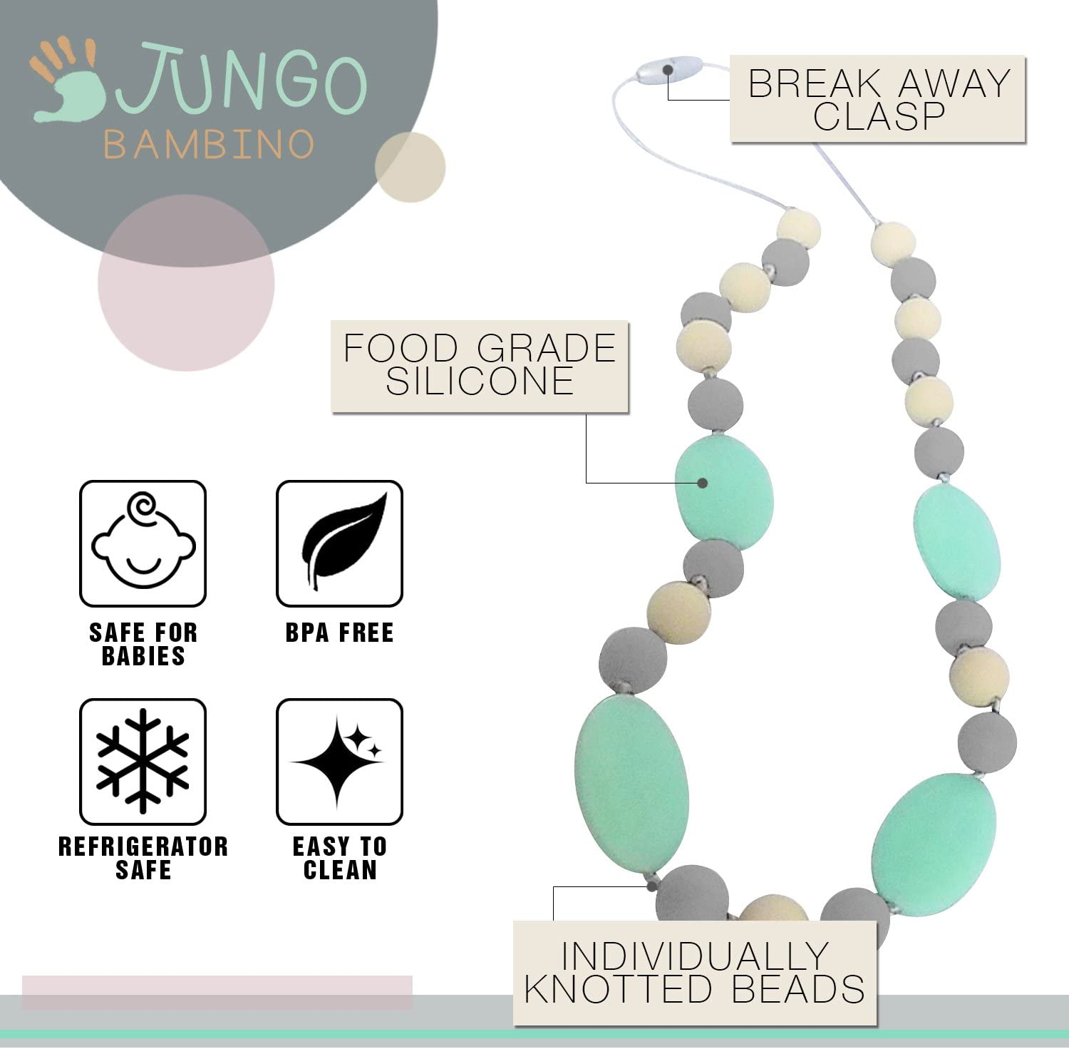 Grey Grape Teething Necklace for Moms to Wear and Baby to Chew Made from BPA Free Safe Silicon by JUNGO BAMBINO Chewbeads Chewlery Teether and Instant Pacifier for Teething Infants