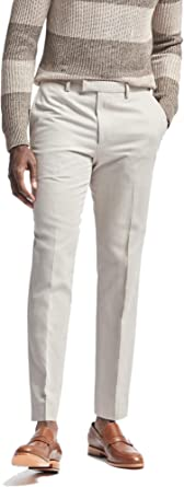 Banana Republic Mens Standard Fit Linen Blend Trousers Pants Light Grey 32W X 32L