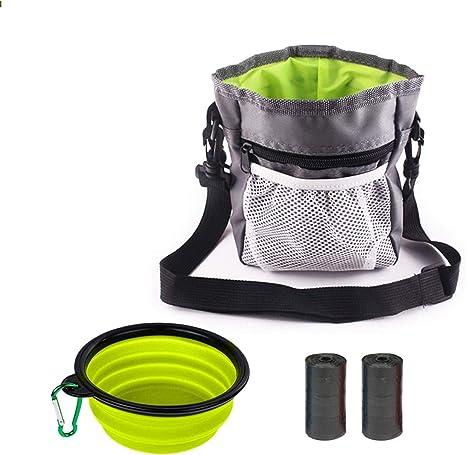 Dog Treat Pouch Bag Sac de marche avec support de sac de chien en silicone  pliable Bol à eau réglable Ceinture et bandoulière pour transporter des ...
