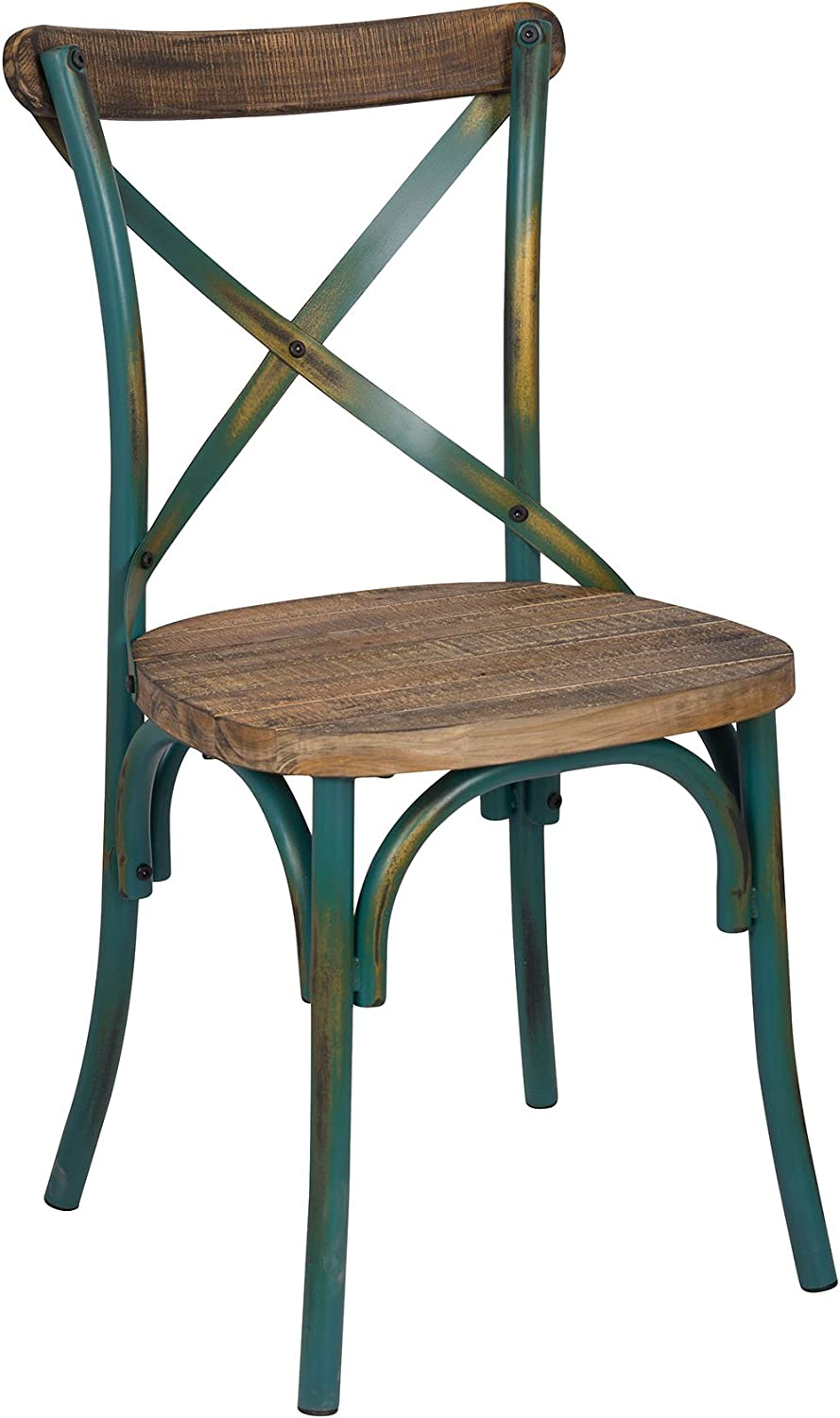 ACME Furniture 73072 1 Piece Zaire Side Chair, Walnut & Antique Turquoise