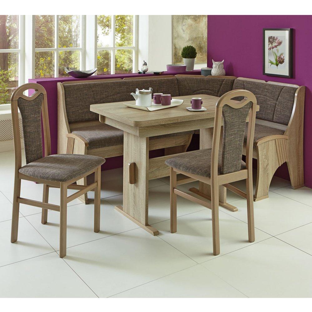 Eckbank Eckbankgruppe Essgruppe KONSTANZ Essecke Tisch 2 Stühle Eiche Dekor
