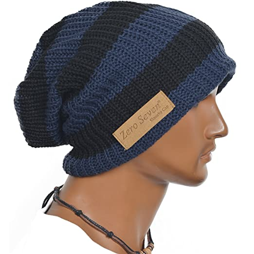 Slouchy Long Oversize Blue Stripe Beanie Knit Cap Available in 34 Different Colors and Patterns by FORBUSITE