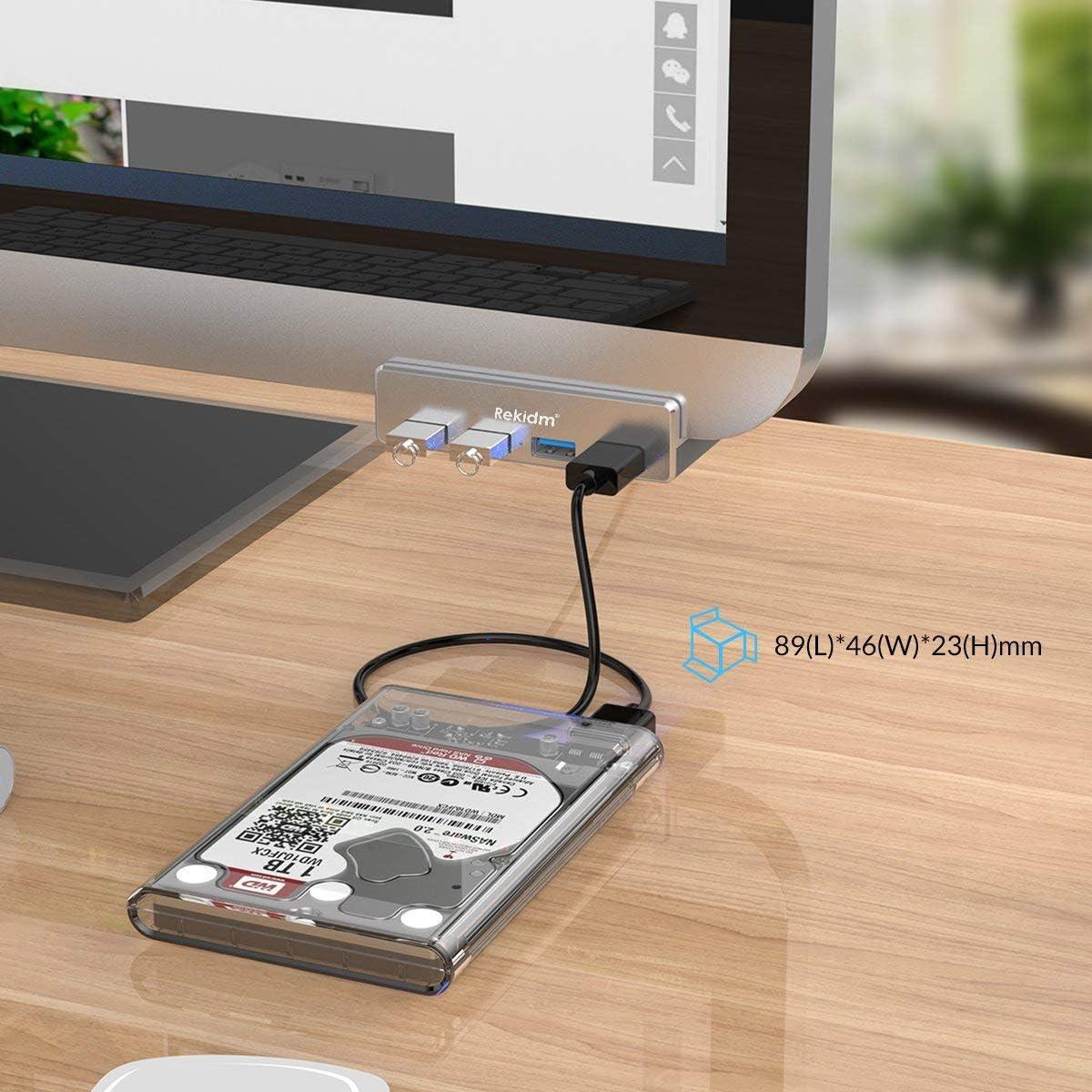 USB Hub 3.0 Table Edge with Durable Adjustable Clip Silver Compact Space-Saving Mountable USB Hub Fast Speed Transfer Computer Rekidm 4 Port Aluminum USB 3.0 Hub Clamp Design for Desktop PC