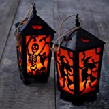 Set of 2 Halloween Lanterns, Battery Powered, Ideal For Hanging