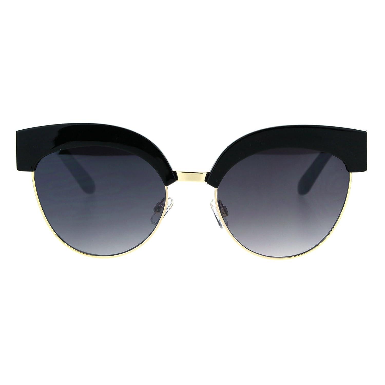 7f0cdf557359 Amazon.com: Womens Gothic Thick Plastic Cat Eye Half Rim Eye Brow  Sunglasses Black Blue: Clothing