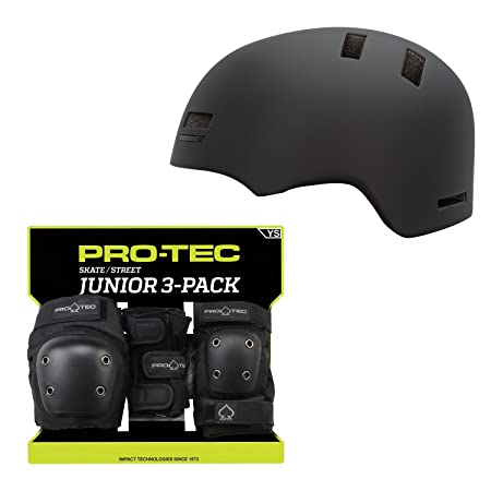 Pro-Tec Street Gear Junior Three Pad Pack with Giro Bell Section Bike/Multi-Sport Helmet - Matte Black, Size Small - for Youth Ages 5-10 - 2 Items Bundled