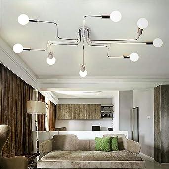 Hervorragend Pionthx Moderne Metall Deckenleuchte Leuchte Hohe Helligkeit E27 * 8 Edison  Kronleuchter Plating Schmiedeeisen Restaurant Esszimmer