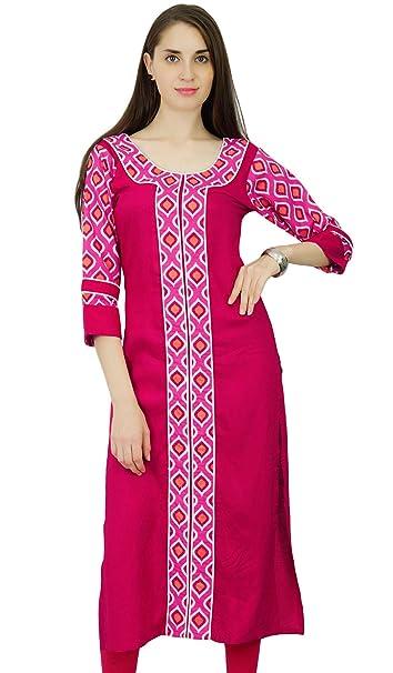 Phagun Rayón étnico Bollywood Kurti diseñador del vestido de la túnica