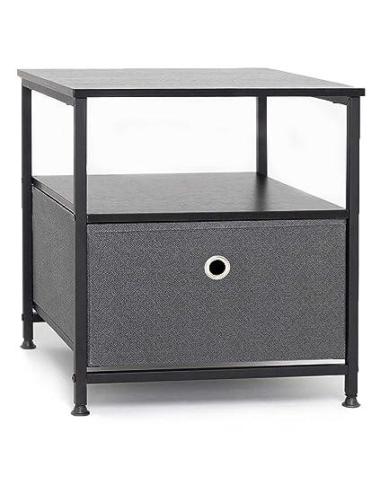 Suhu Table De Chevet Cube Table De Nuit Avec 1 Tiroir Et 1 Etageres Petite Table Basse Metallique Pour Salon Chambre Commode Tissus Meuble De