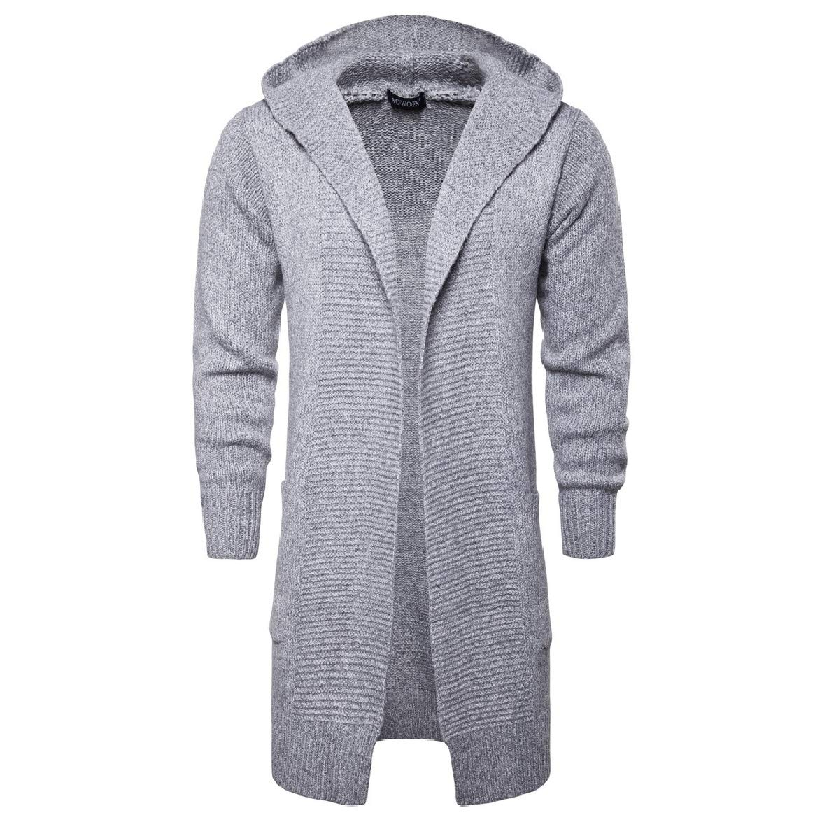 Abetteric Mens Mid Length Solid Hood Relaxed-Fit Knit Cardigan Sweater Outwear