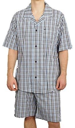 6e503dbf4d3615 Seidensticker Herren kurzer Pyjama Schlafanzug Kurz Popeline - 141097,  Größe Herren:62, Farbe