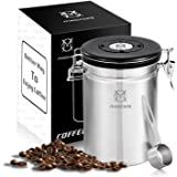 Magicafé Airtight Coffee Container Canister - with CO2 Valve Airscape Coffee Bean Grounds Storage Container with Scoop Large 21oz