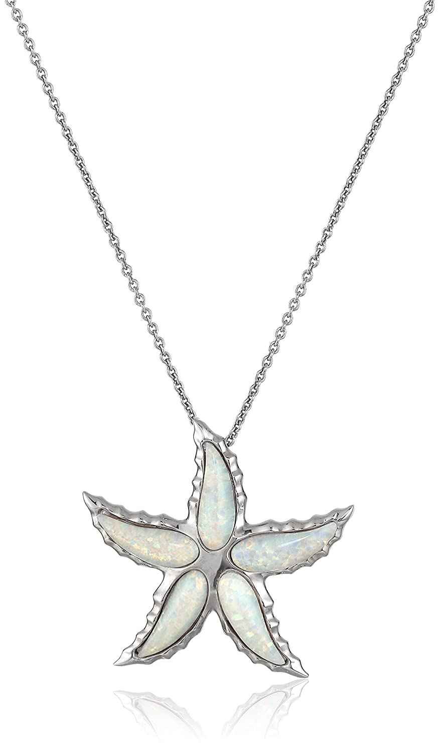 """Sterling Silver Special Cut Created Opal Starfish Pendant Necklace, 18"""""""