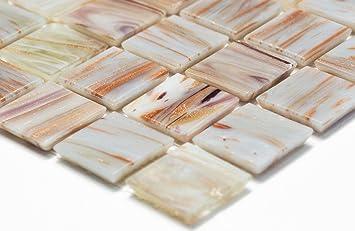 Vetro mosaico network mosaico piastrelle quadrato oro silk beige