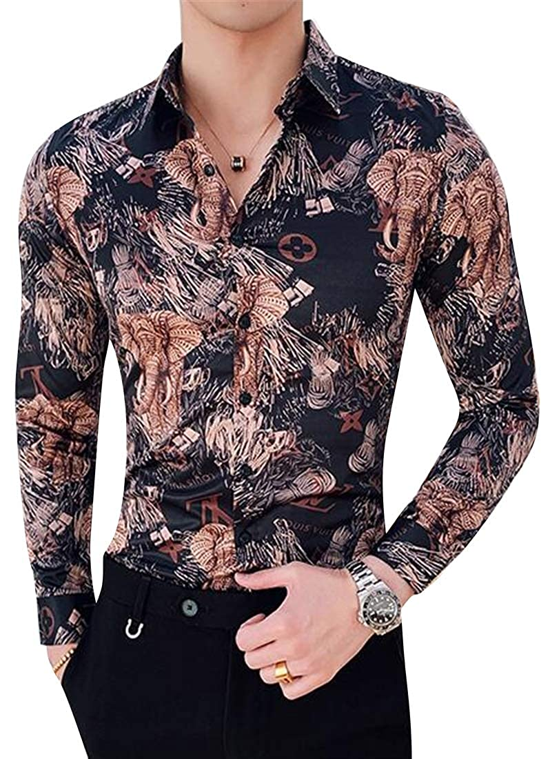 Fubotevic Mens Floral Long Sleeve Club Turn Down Collar Slim Fit Button Down Blouse Shirt