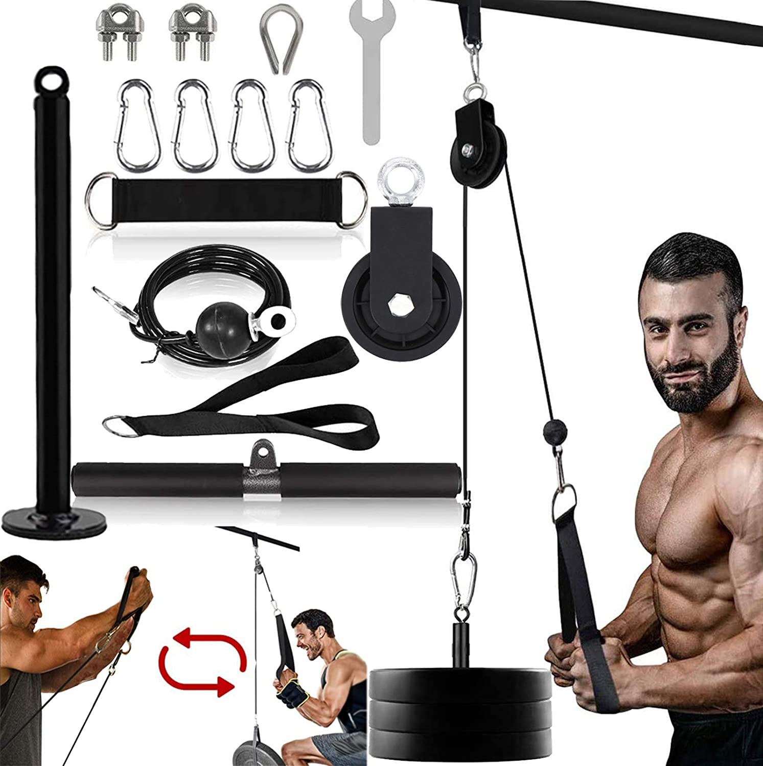Favuit LAT Pulley System Professional Home Gym Pull Down Machine Equipment with Upgraded Loading Pin for LAT Pull Downs, Biceps Curl, Forearm, Shoulder