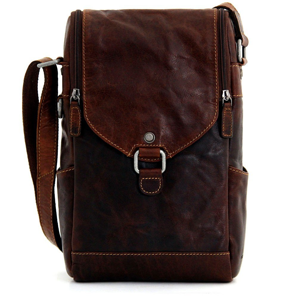 Jack Georges Voyager Crossbody Messenger & Winebag Brown by Jack Georges