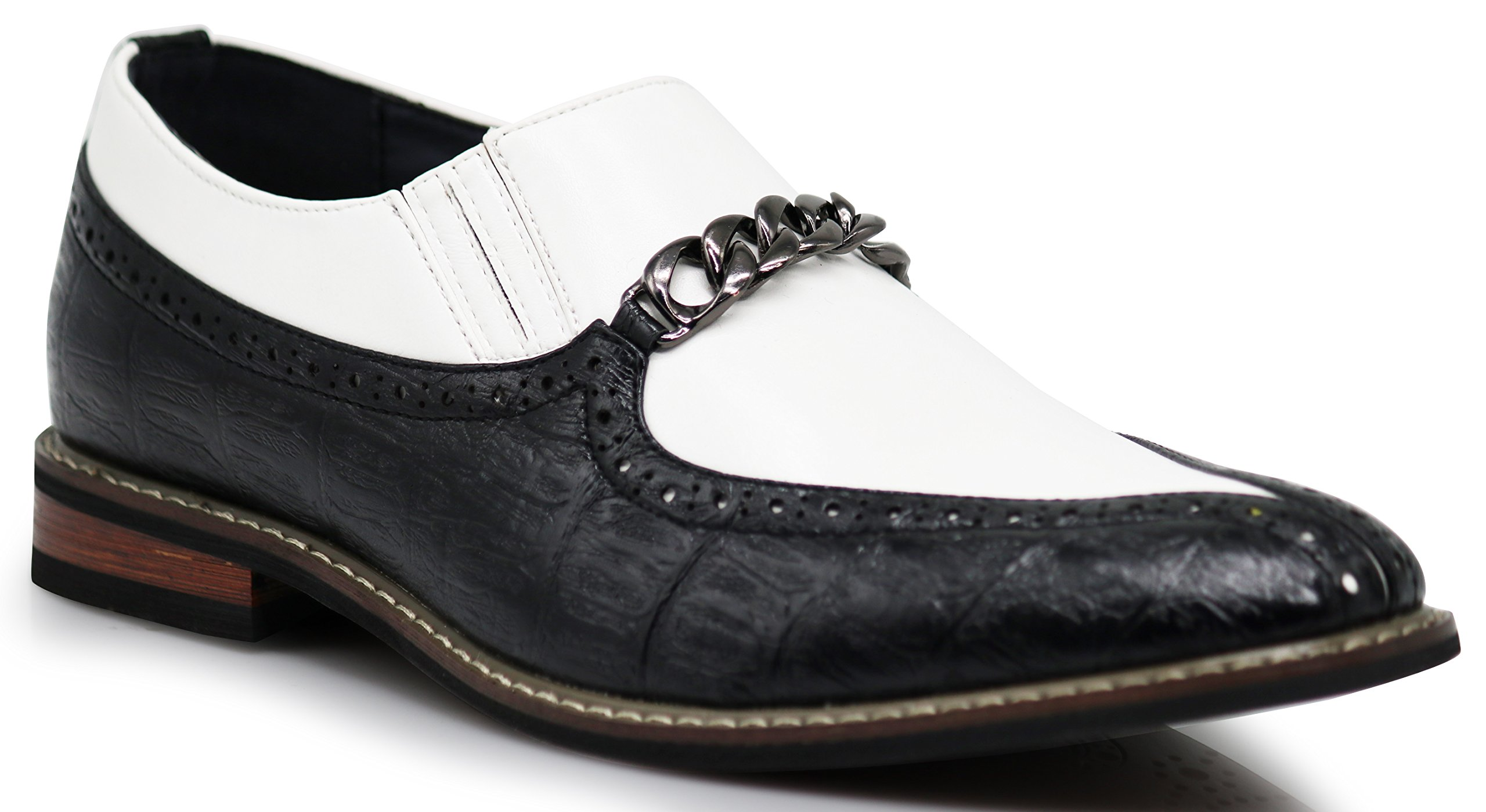 CRD3 Men's Two Tone Spade Heart Toe Chain Buckle Slip On Loafers Oxfords Perforated Dress Shoes (11 D(M) US, Black/White)