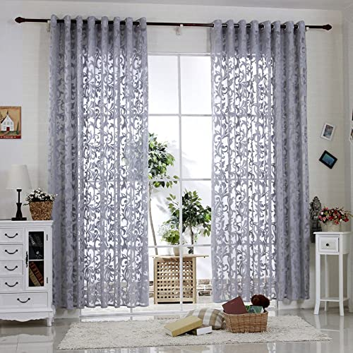 R.LANG Solid Grommet Top Modern Embroidered Sheer Curtain 1 Pair Gray 52 W X 108 L