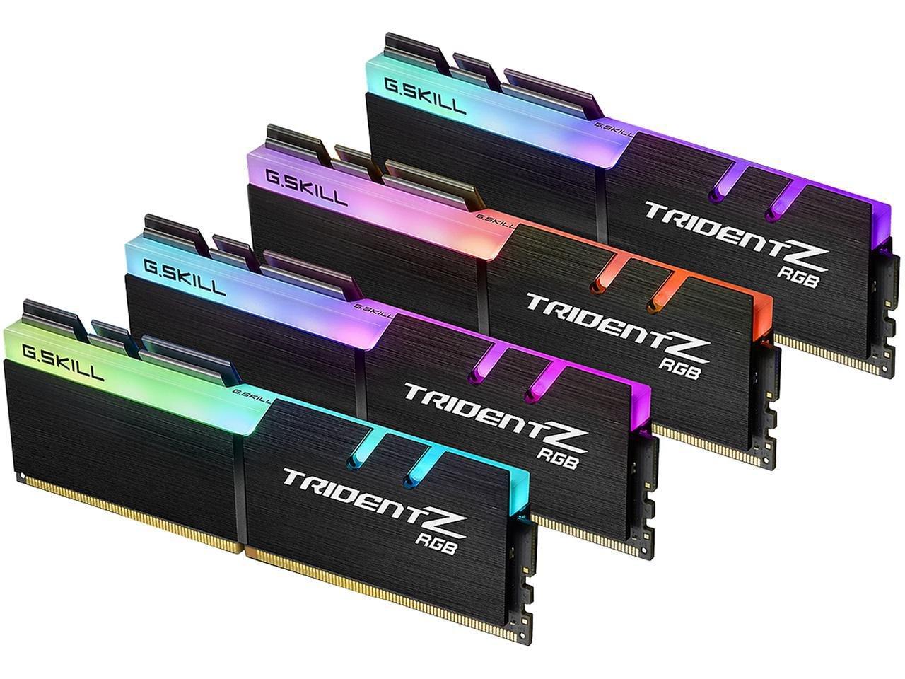 G.SKILL 64GB (4 x 16GB) TridentZ RGB Series DDR4 PC4-27700 3466MHz Desktop Memory Model F4-3466C16Q-64GTZR