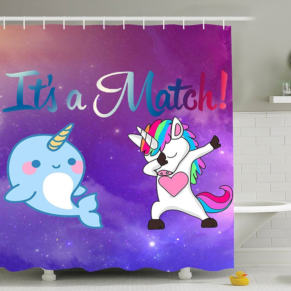 BESTSC Top Quality Purple Shower Curtains - Dabbing Unicorn And Cute Narwhal Dab Dance Match Bath Curtain - Waterproof Polyester Fabric Bathroom Decor Set With Hooks - 72'' X 72''