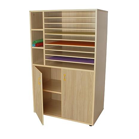 Mobeduc Armario y Muebles de Almacenamiento de Papel con 2 inconveniente Caja, de Madera,