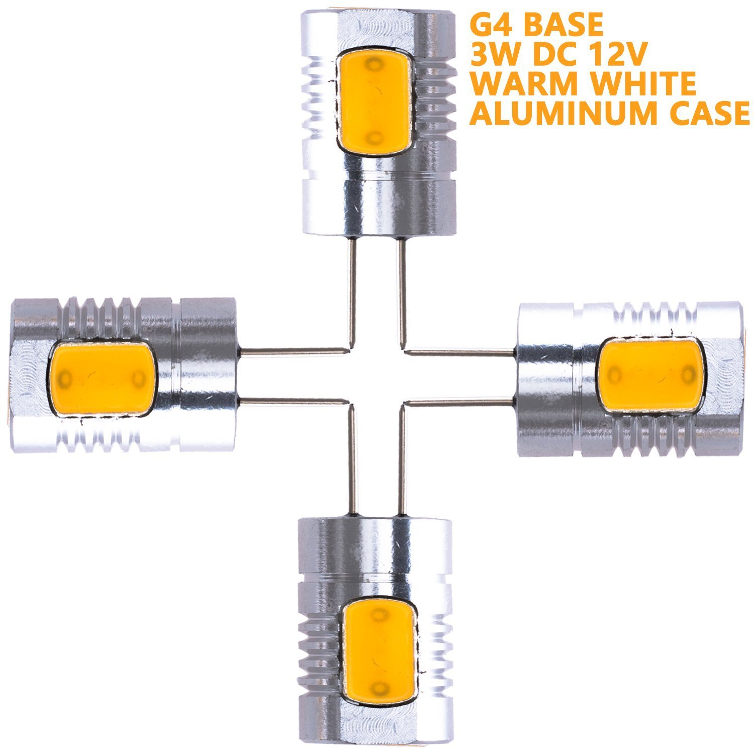 Weanas 4x G4 Base LED Light Bulb Lamp 3 Watt DC 12V Warm White Undimmable Equivalent to 20W Halogen Track Bulb Replacement 80¡ã Beam Angle