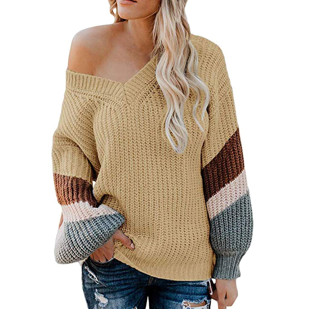AMOUSTORE Women's Color Block Casual Pullover Long Sleeve Sweatshirts Top Blouse Yellow by AMOUSTORE