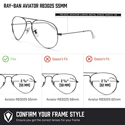 50fdef076f Amazon.com  Revant Polarized Replacement Lenses for Ray-Ban Aviator RB3025  55mm Elite Black Chrome MirrorShield  Sports   Outdoors