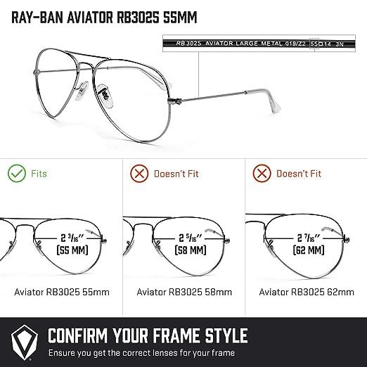 9bc5acb29b2 Amazon.com  Revant Polarized Replacement Lenses for Ray-Ban Aviator RB3025  55mm Elite Black Chrome MirrorShield  Sports   Outdoors