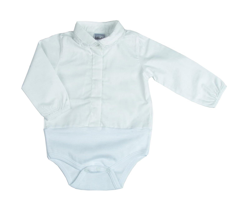 BabyVip - Body a Camicia Bimba Neonata Manica Lunga Tela Di Cotone E Costina